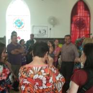 Elvira Arellano leads a prayer